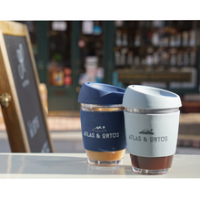 Glass Coffee Cup - Navy (12oz)