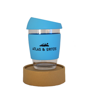 Glass Coffee Cup - Sky Blue (12oz)