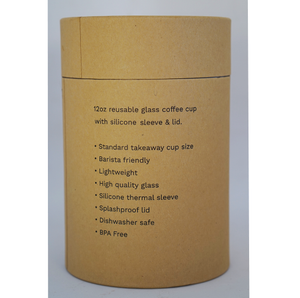 Glass Coffee Cup - Grey (12oz)