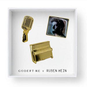 Exclusive Pins - Groundwork Rising Set,  three pins (piano+microphone+album). Designed by Godert.Me x Ruben Hein