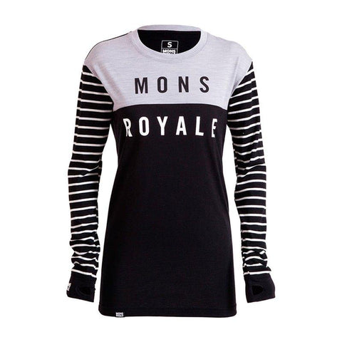 Mons Royale Boyfriend LS Underställströja - Stripes/Black/Grey Marl - Blacksnow