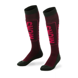 Mons Royale Snow Tech Skidstrumpor - Burgundy/Forest Green/Raspberry - Blacksnow