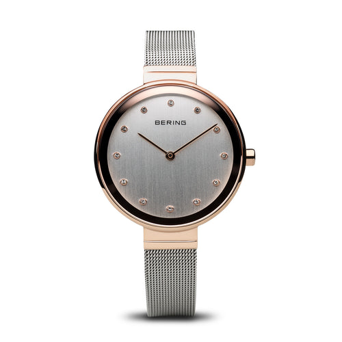 Bering Mesh Rose Gold Ladies Watch