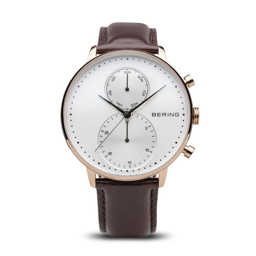 Bering Leather Rose Gold Mens Watch