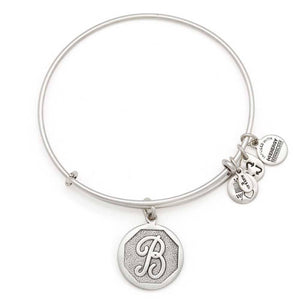 "Alex and Ani Silver ""B"" adjustable bangle"