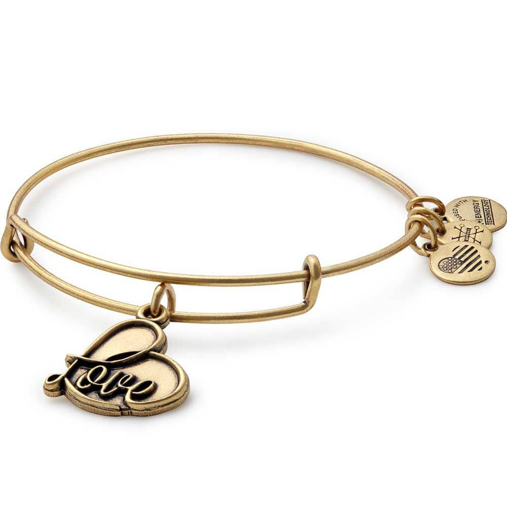 Alex and Ani Gold Love expandable bracelet