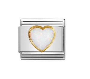 Nomination 18ct Gold White opal heart link