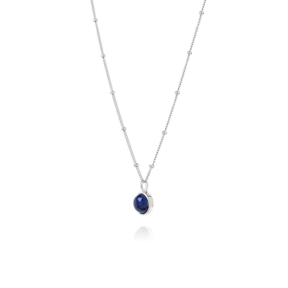 Daisy Lapis Healing Stone Necklace Silver