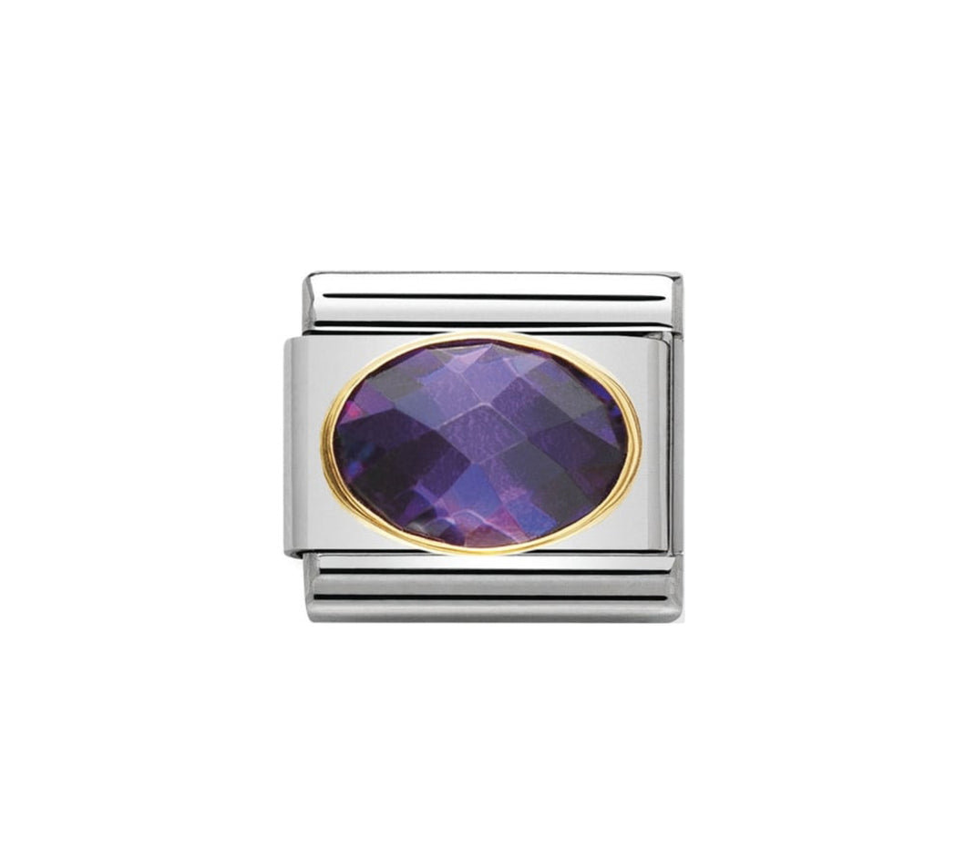Nomination 18ct Gold Violet CZ link