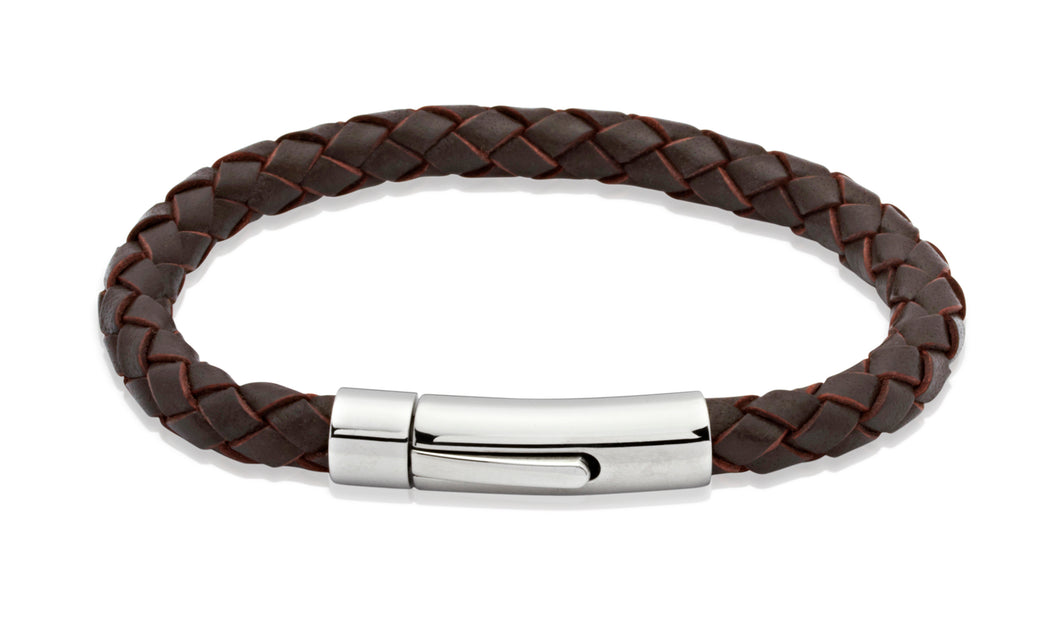 Unique & Co Brown leather bracelet with steel clasp