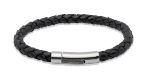 Unique & Co Black leather bracelet with black IP plating