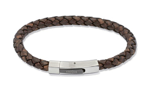 Unique & Co Dark Brown leather bracelet with black IP plating