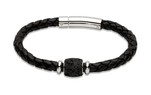 Unique & Co Black Leather Bracelet With Lava Rock Elements