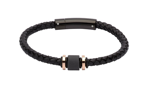 Unique & Co Black leather bracelet with black and Rose IP Plating