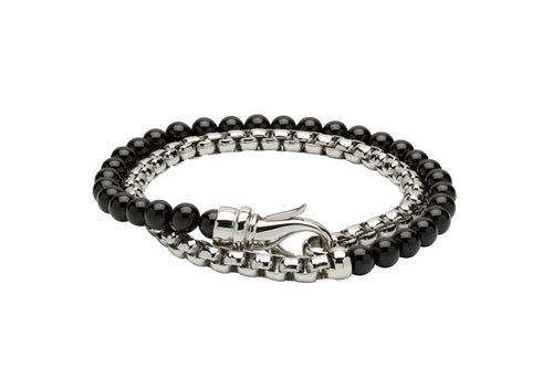 Unique & Co Black Onyx beads and steel chain bracelet