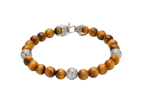 Unique & Co Tiger's Eye beads and steel chain bracelet