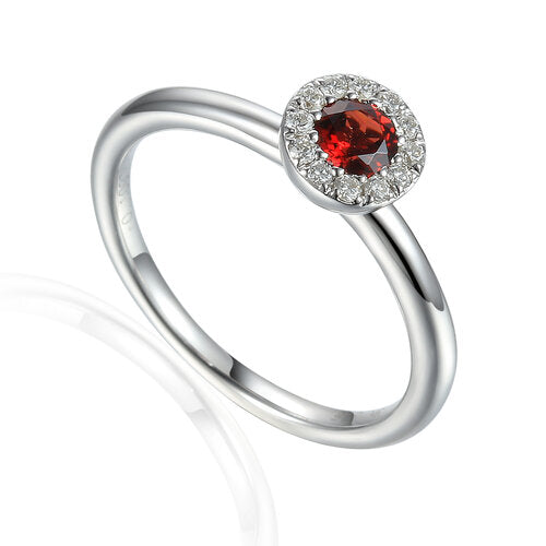 Garnet and Diamond cluster ring 9ct White Gold