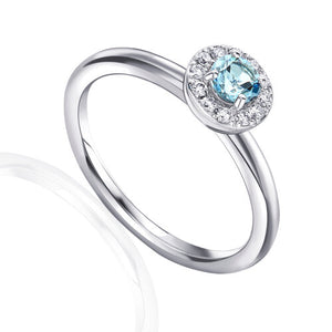 Aquamarine and Diamond cluster ring 9ct White Gold