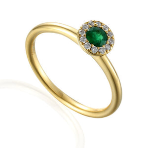 Emerald and Diamond cluster ring 9ct Yellow Gold
