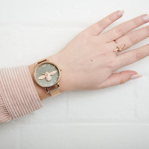 Olivia Burton 3D Bee Rose Gold Mesh Watch