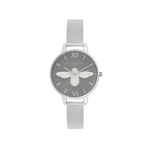 Olivia Burton 3D Bee Dial Grey and Silver Mesh Watch
