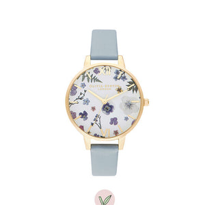 Olivia Burton Artisan Vegan Chalk Blue and Gold Watch