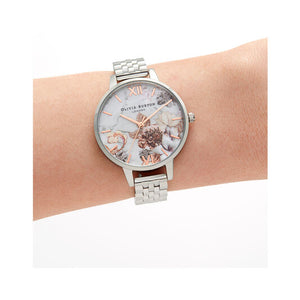 Olivia Burton Marble Floral Rose Gold and Silver Watch