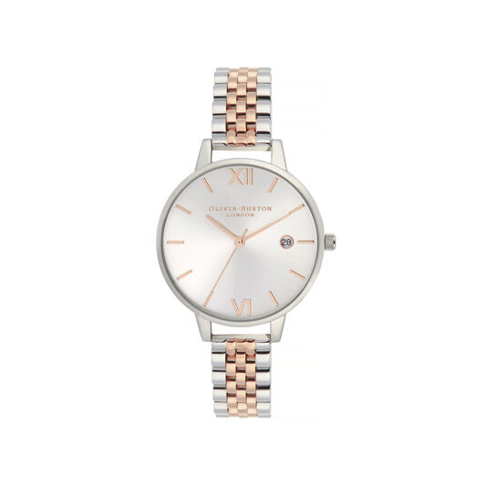 Olivia Burton Sunray Silver and Rose Gold Watch