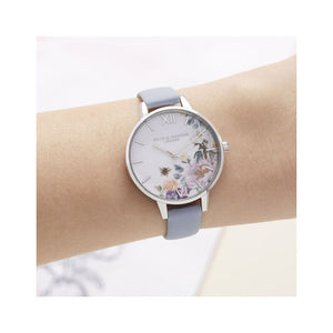 Olivia Burton Enchanted Garden Blue and Silver Watch