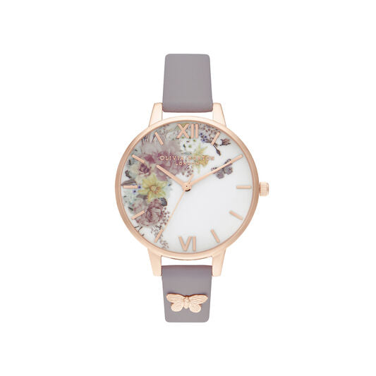 Olivia Burton Enchanted Garden Demi Grey Lilac and Rose Gold Watch