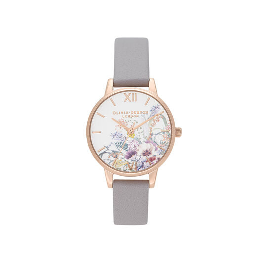 Olivia Burton Enchanted Garden Grey Lilac and Pale Rose Gold Watch