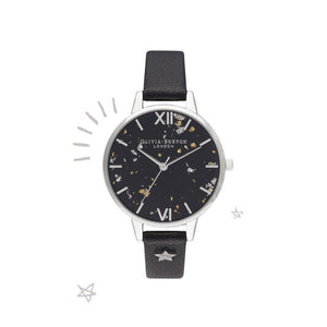 Olivia Burton Celestial Star Black and Silver Demi Dial Watch