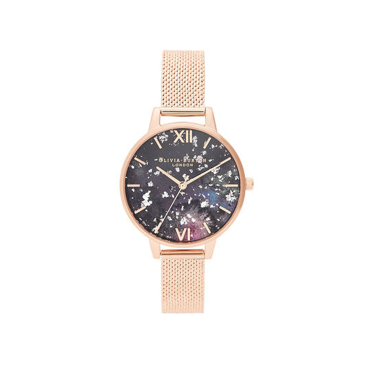 Olivia Burton Celestial Rose Gold Boucle Mesh Watch