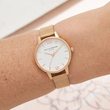Olivia Burton White Dial Rose Gold Mesh Watch