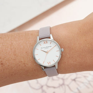 Olivia Burton White Dial Grey Lilac and Silver Watch