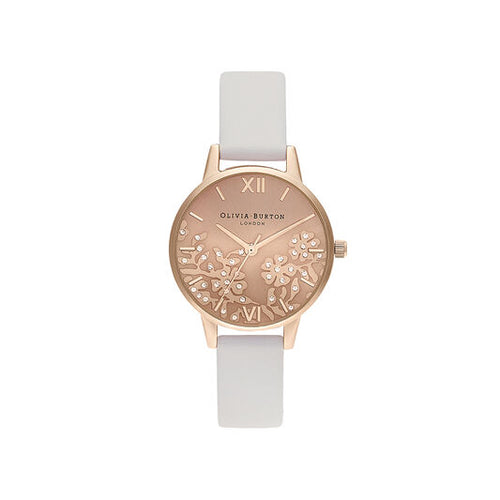 Olivia Burton Bejewelled Lace Blush and Rose Gold Mesh Watch
