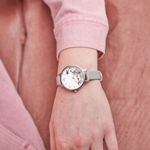Olivia Burton Watercolour Floral Grey Lilac Rose Gold and Silver
