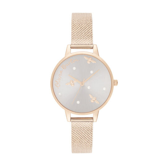Olivia Burton Pearly Queen Rose Gold Mesh Watch