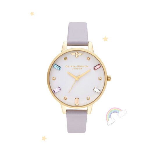 Olivia Burton Rainbow Bee Parma Violet and Gold Watch