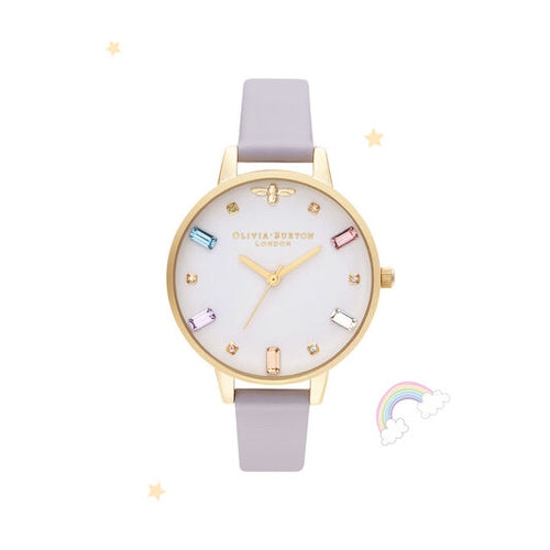 Olivia Burton Rainbow Bee Demi Parma Violet and Gold Watch