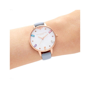 Olivia Burton Rainbow Bee Chalk Blue and Rose Gold Watch