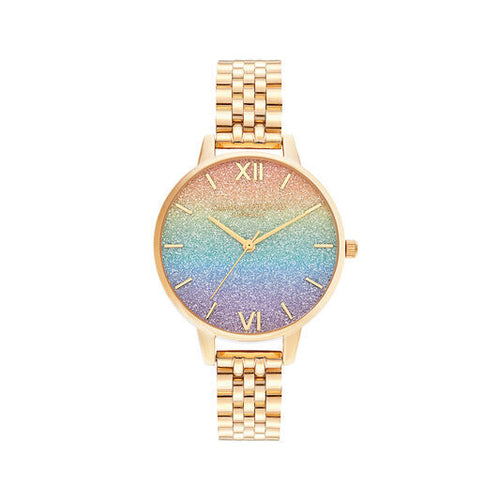 Olivia Burton Rainbow Glitter and Gold Watch