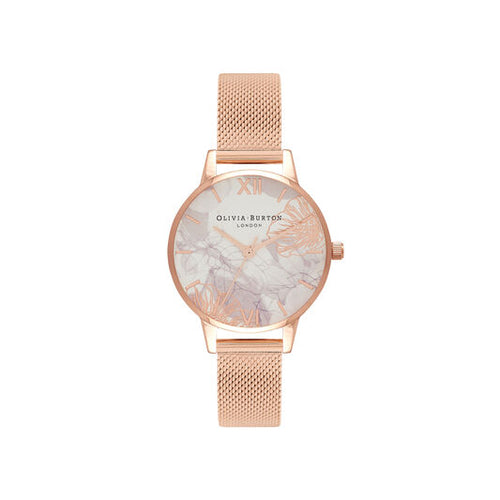 Olivia Burton Abstract Floral Rose Gold Watch