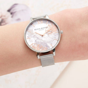 Olivia Burton Abstract Floral Silver Mesh Watch