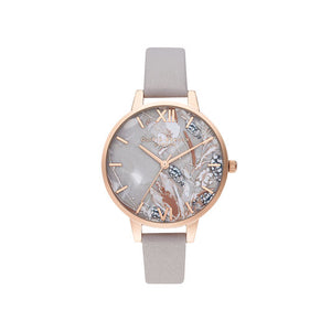Olivia Burton Abstract Floral Grey Lilac and Rose Gold Watch