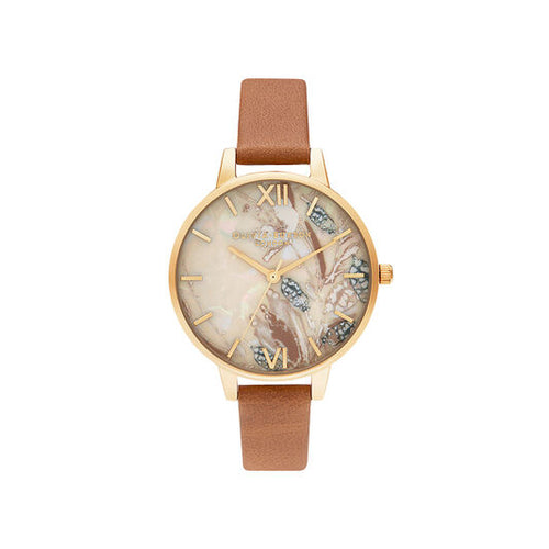 Olivia Burton Abstract Floral Honey Tan and Gold Watch