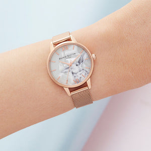 Olivia Burton Winter Wonderland Rose Gold Mesh Watch