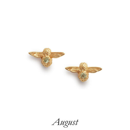Olivia Burton Bee Stud Earrings Gold And Peridot