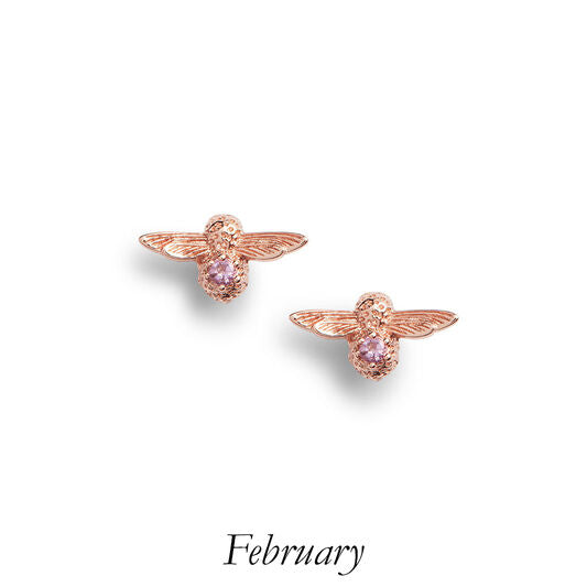 Olivia Burton Bee Stud Earrings Rose Gold And Amethyst
