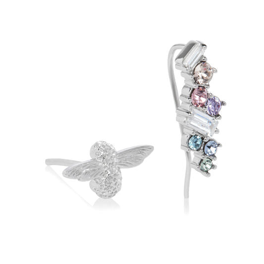 Olivia Burton Rainbow Bee Crawler and Stud Silver
